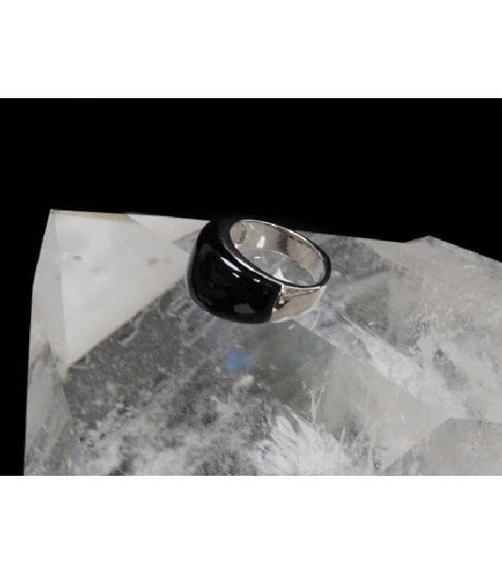 ANILLO MESSINA ONIX PLATA