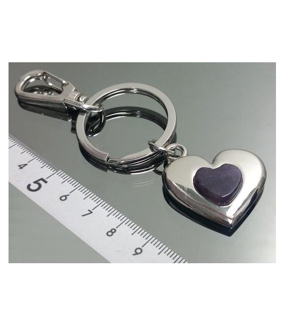Llavero doble corazon amatista(2ud)