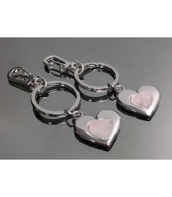 Llavero doble corazon cuarzo rosa(2ud)