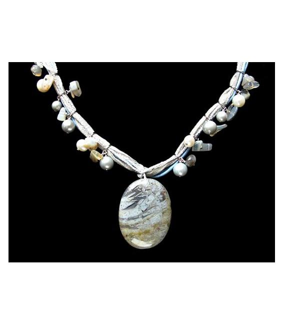 Collar cordon perla minerales variados