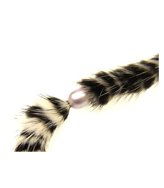 Collar perla /piel blanco-negro plata