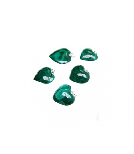 Colgante corazón malaquita 15x15mm.plata(5ud)