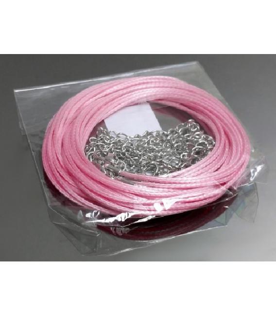 Gargantilla cordón algodón rosa (10ud)