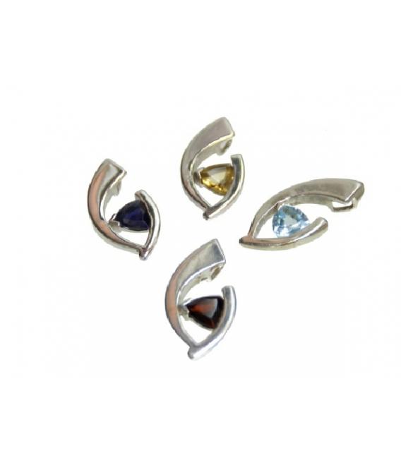 Colgante hoja abierta gema variada plata (1ud)