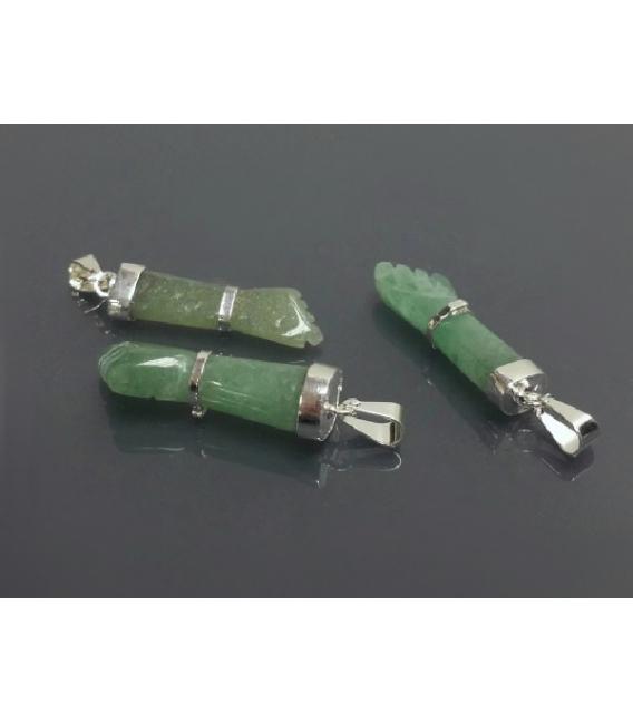 Colgante puño cuarzo verde plata (3ud)