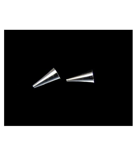 FORNITURA CONO LISO PLATA 6X12mm (5 PAR)