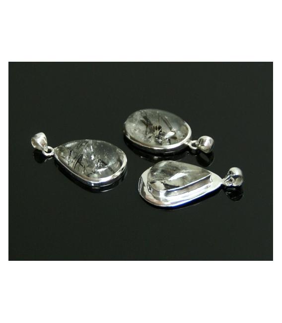 Colgante cabujón cuaro turmalina plata