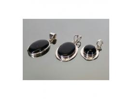 Colgante cabujón onix plata(1ud)