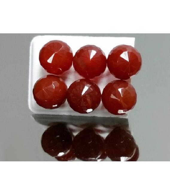 PENDIENTE BOLA 10mm FACETADO PLATA CARNEOLA (3par)