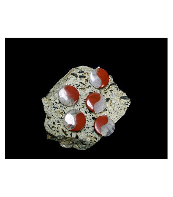 Colgante ying yang jaspe rojo/cuarzo(5ud)