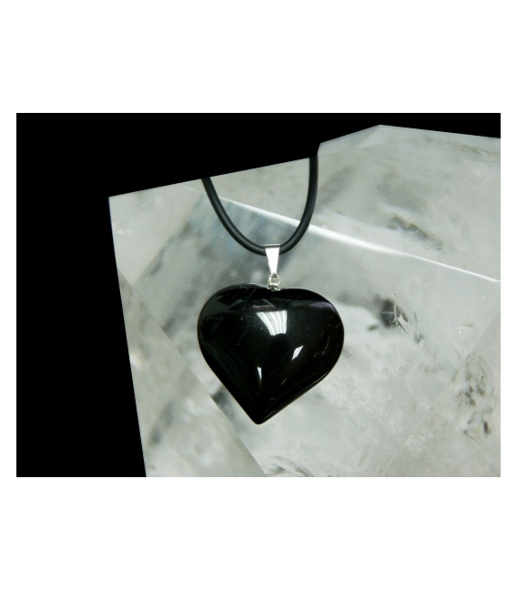 Colgante corazón turmalina negra (3ud)