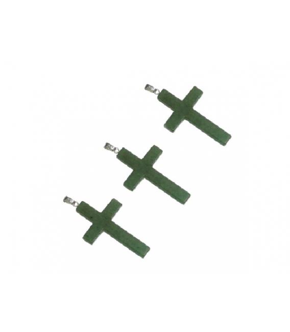COLGANTE CRUZ CUARZO VERDE 25X40mm -5ud-/ 1604CCR