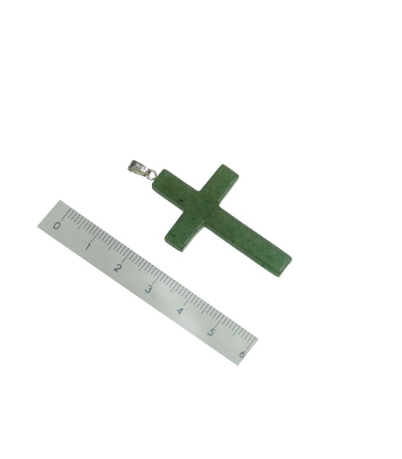 Colgante cruz cuarzo verde 25X40mm (5ud)