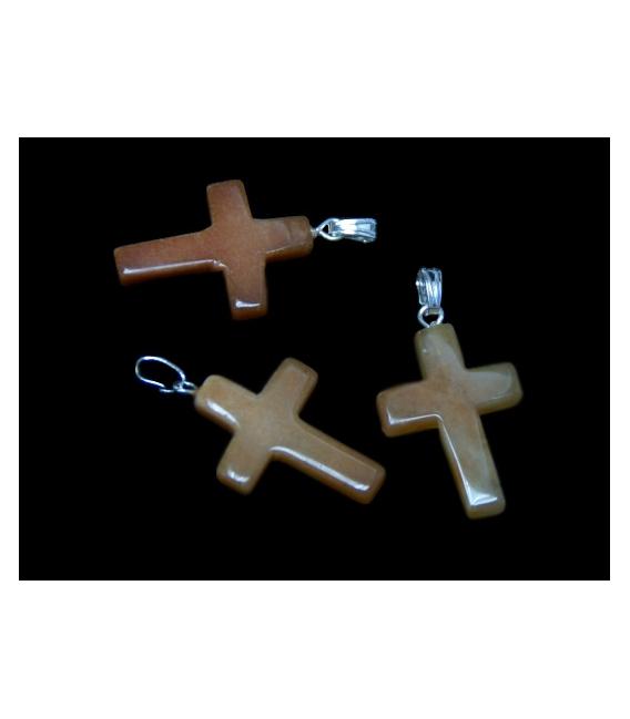 Colgante cruz aventurina naranja (5ud)