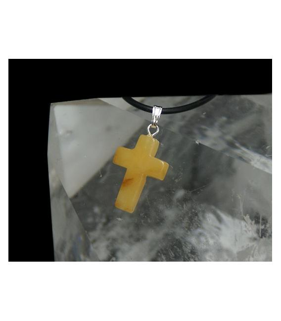 Colgante cruz aventurina amarilla (5ud)