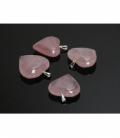 Colgante corazon cuarzo rosa(5ud)