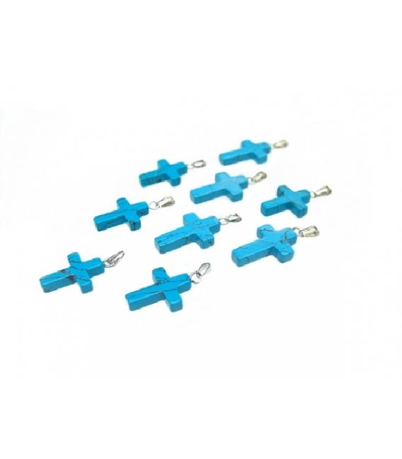 Colgante cruz mini turquenita (10ud)