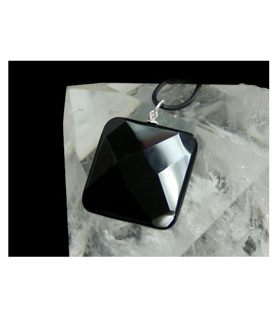 Colgante cuadrado facetado agata negra plata(3ud)
