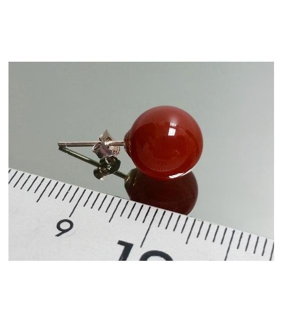 Pendiente bola 10mm.liso variado plata(3par)
