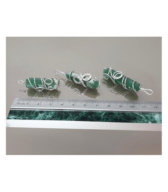 Colgante punta doble espiral cuarzo verde(3ud)