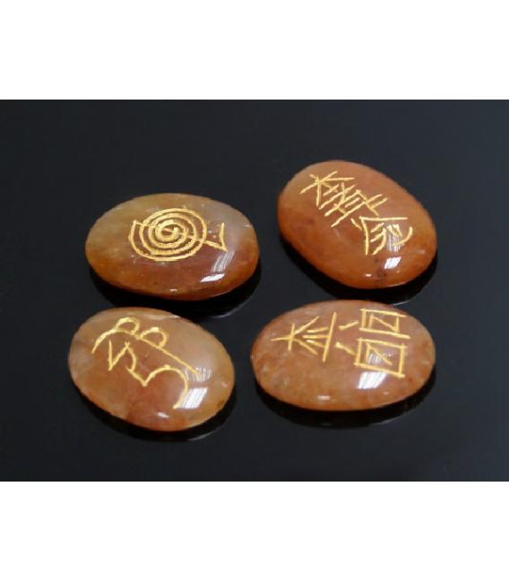 JUEGO REIKI  AVENTURINA NARANJA (bolsa 4 símbolos)