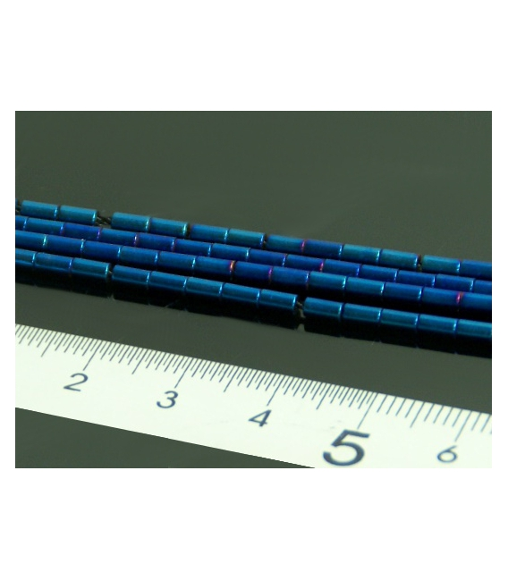 Hilo tubo hematite color azul añil