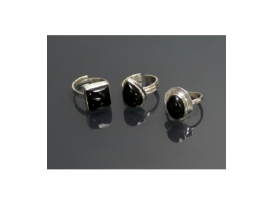 ANILLO ADAPTABLE OBSIDIANA NEGRA PLATA