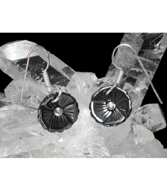 Pendiente flor hematite-circonita plata