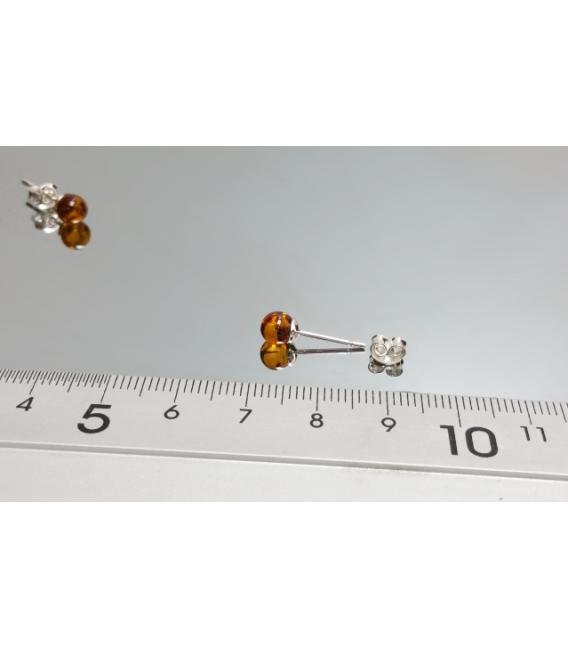 Pendiente bola ambar plata 5mm (3 par)