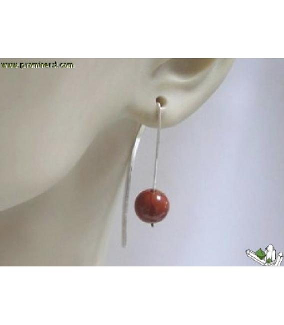 Pendiente vaina jaspe rojo plata (1ud)