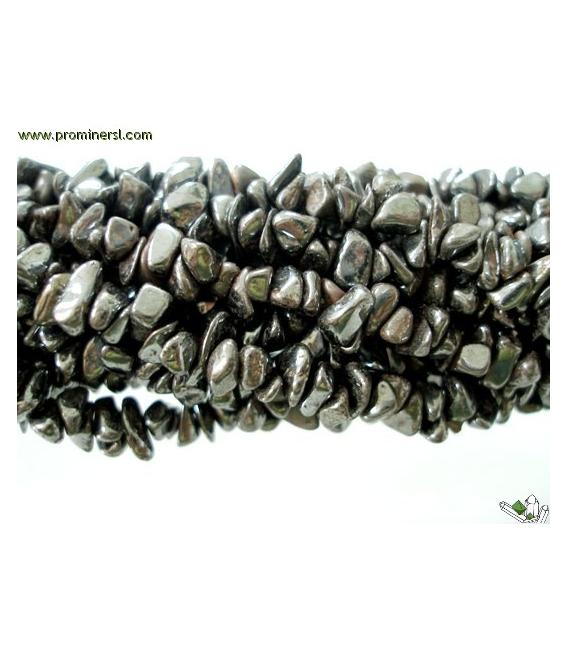 COLLAR CHIP LARGO HEMATITE (10ud)