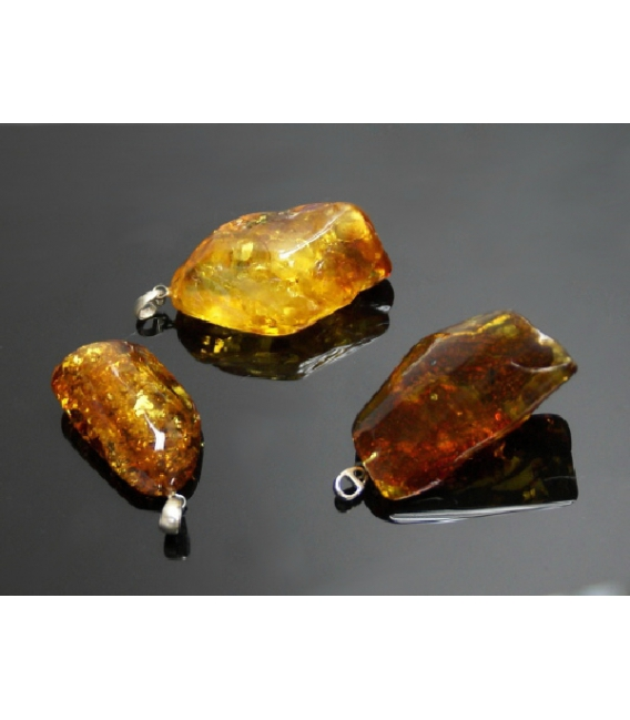 Colgante grande pulido ambar plata(1ud)