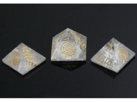 PIRÁMIDE REIKI CUARZO -4 símbolos-