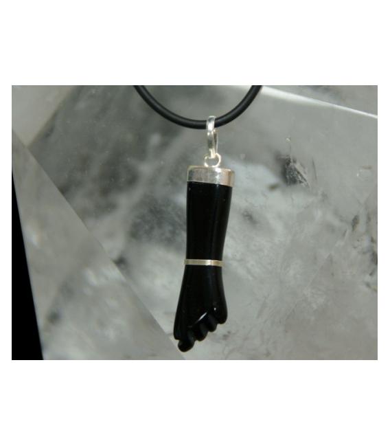 Colgante puño obsidiana negra plata (3ud)