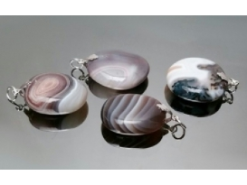 Colgante cabujón agata plata (2ud)