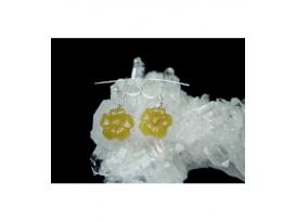 Pendiente flor jade amarillo plata (1par)