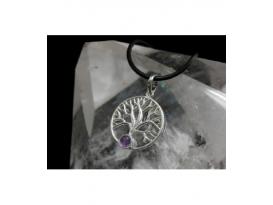 Colgante simbolo arbol de la vida amatista plata