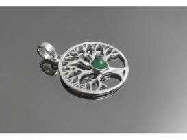 Colgante arbol de la vida esmeralda plata