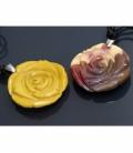 Colgante rosa cordon mokaita (1ud)
