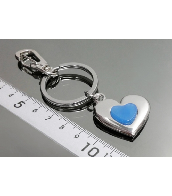 Llavero doble corazon agata azul(2ud)