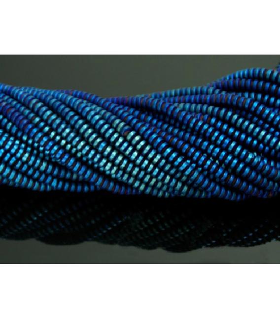 Hilo lenteja hematite color azul añil mate 4mm