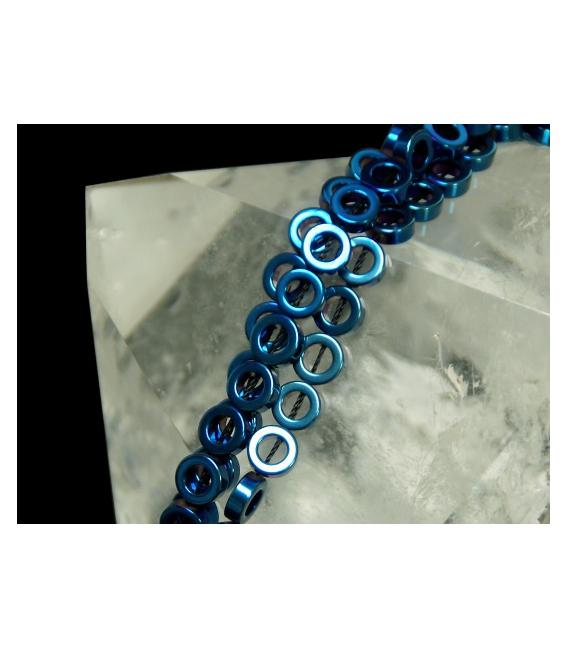 Hilo aros hematite color azul 8mm