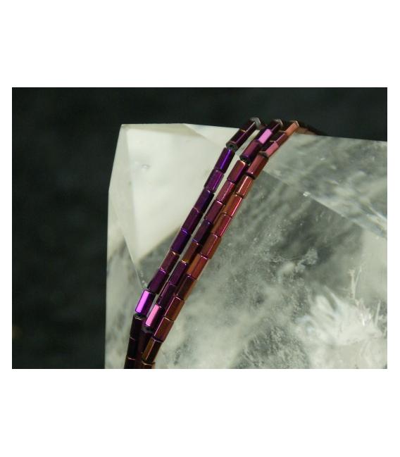 Hilo Prisma hematite color purpura 6x4mm