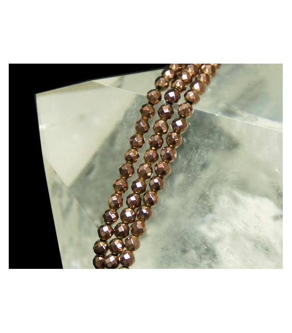 Hilo bola tallada hematite color cobre 4mm