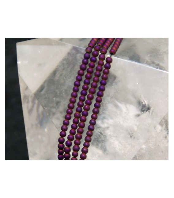 Hilo bola hematite color purpura mate 3mm