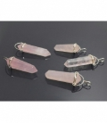 Colgante pendulo cuarzo rosa plata(2ud)