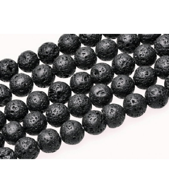 Hilo bola lava pulida negra 8mm