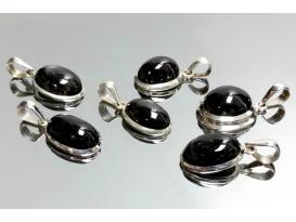 Colgante gema cabujón black star plata