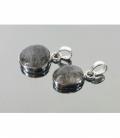 Colgante cabujon cuarzo turmalina plata(2ud)