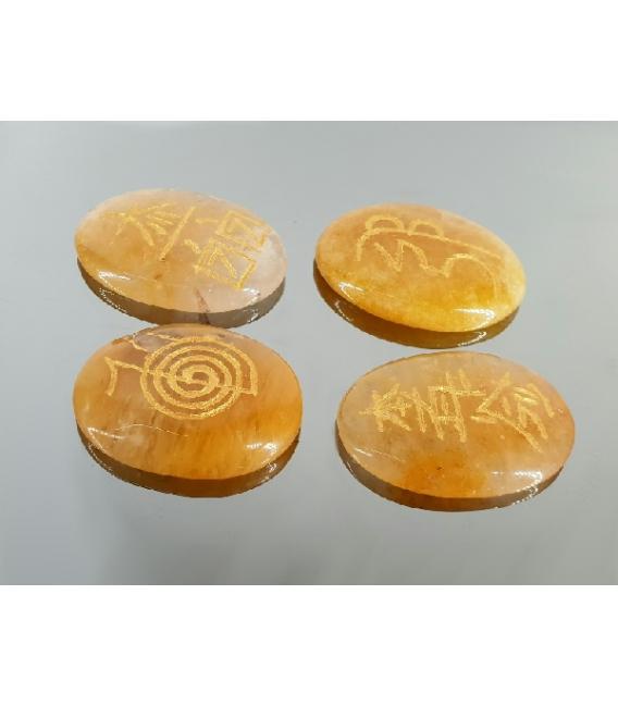 JUEGO REIKI CUARZO LIMON (bolsa 4 símbolos)